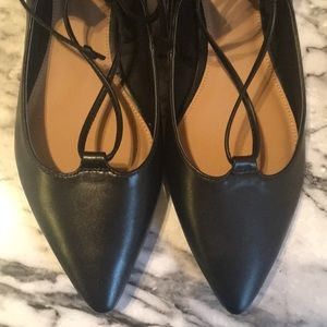Black Criss-Cross Ankle-Tie Pointy-Toed Flats!